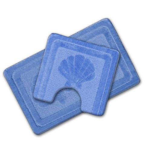 LUXURY 2 PIECE NON SLIP BATH MAT & PEDESTAL BLUE COLOUR